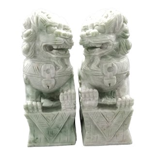 Solid Jade Foo Dogs - a Pair For Sale