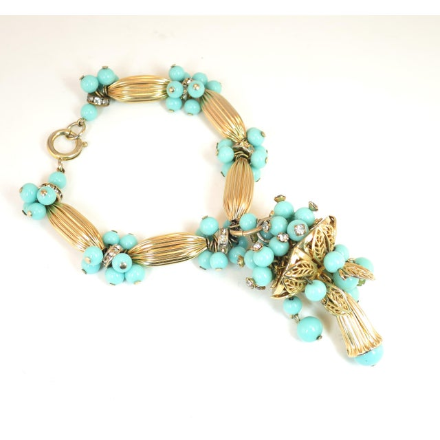 Gold Miriam Haskell Turquoise Glass Necklace & Bracelet Set, Made in Germany 1950s For Sale - Image 8 of 13