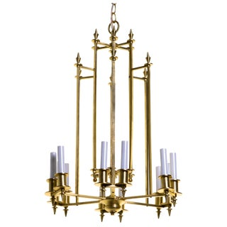 Twelve-Light Brass Skyscraper Chandelier For Sale