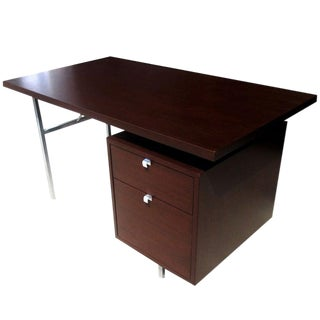 "54"" Vintage Single Pedestal Desk by George Nelson for Herman Miller For Sale"