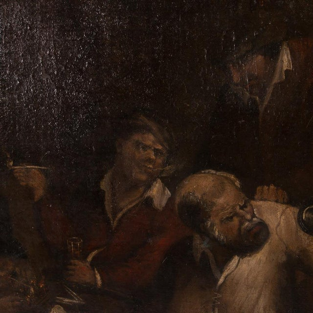 Realism 19th Century Antique Original Men Drinking in a Tavern French Oil Painting For Sale - Image 3 of 7