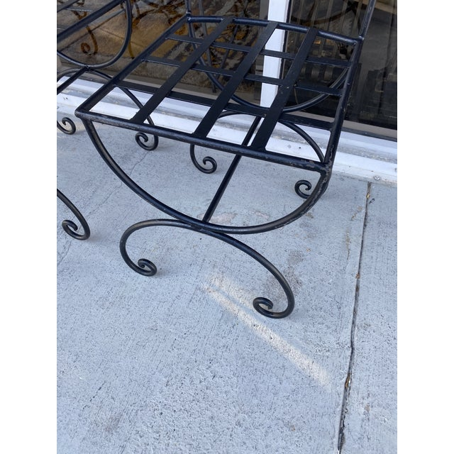 Wrought Iron Asian Inspired Set of 6 Patio Chairs For Sale - Image 10 of 13