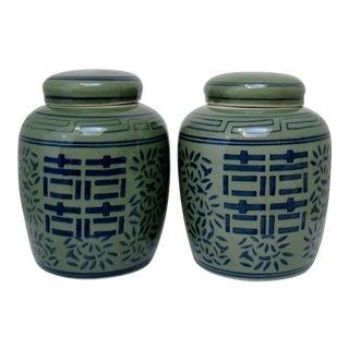 Deep Celadon Ginger Jars, a Pair For Sale