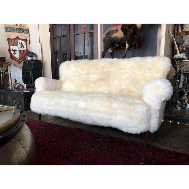 Boho Chic White Mongolian Wool Sofa For Sale - Image 3 of 13