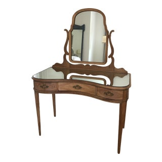 Antique Mirrored Walnut Vanity For Sale