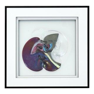 Contemporary Memphis Framed Textured Fused Art Glass Signed Debra Van Tol 1980s For Sale