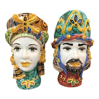 Figurative Italian Sicilian Vases - a Pair For Sale