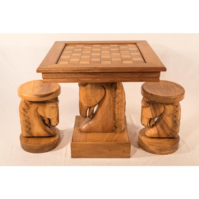 Billy Haines Style Horse Head Game Table and Seats - Image 2 of 11