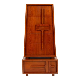 Custom-Made Teak Chest of Drawers With Sloped Sides For Sale