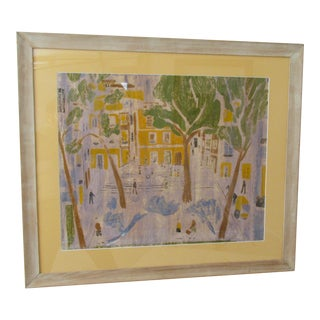 1960s Vintage French Town Square Framed Monoprint For Sale