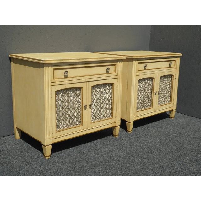 Vintage Kindel French Country Cottage Cream Nightstands - A Pair - Image 6 of 11