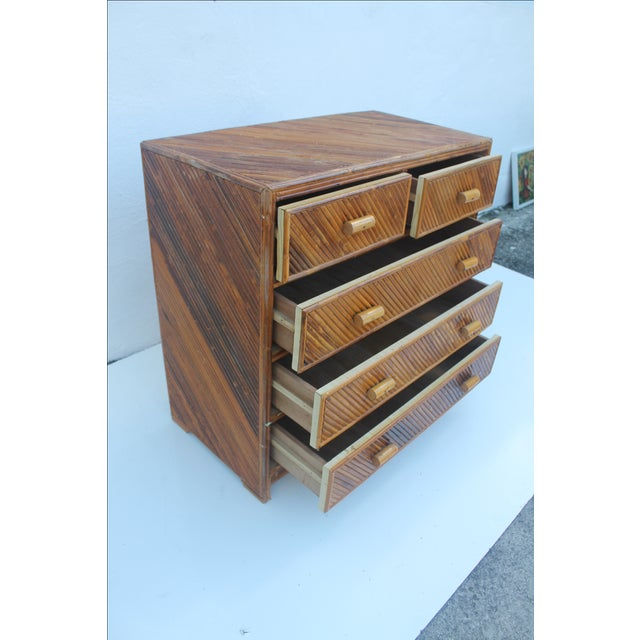 Vintage Pencil Reed & Rattan 5 Drawer Chest - Image 8 of 11