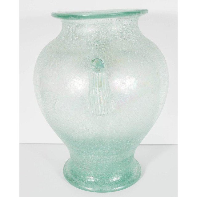 Handblown Murano Glass Vase With Scrolled Arms in the Manner of Karl Springer For Sale In New York - Image 6 of 8
