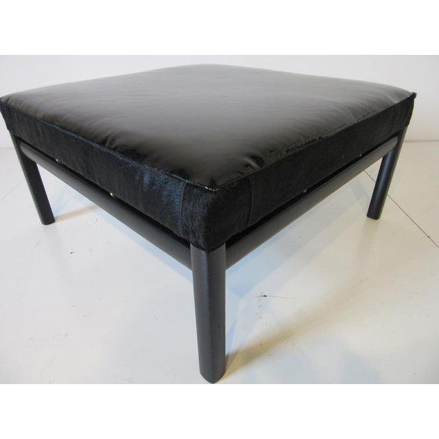 Mid Century Michael Taylor Baker Patent Leather and Pony Hide Ottoman For Sale - Image 10 of 11