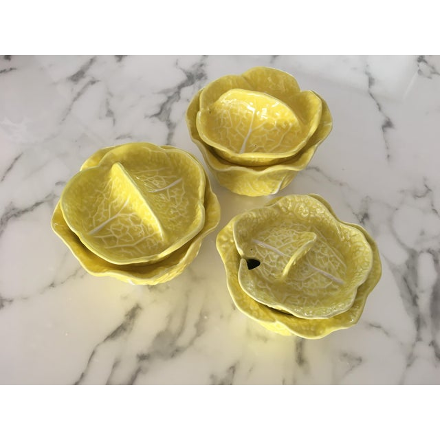 Vintage set of 3 secla discontibued bowls of tureens. Porcelain pieces in yellow
