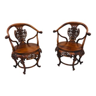 Pair Antique Carved Arm Chairs For Sale