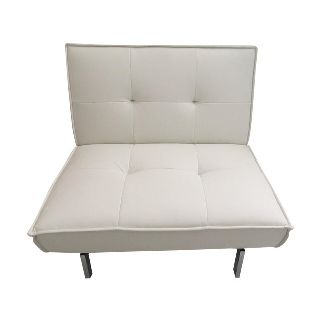 Tufted White & Chrome Accent Chair - Image 1 of 4