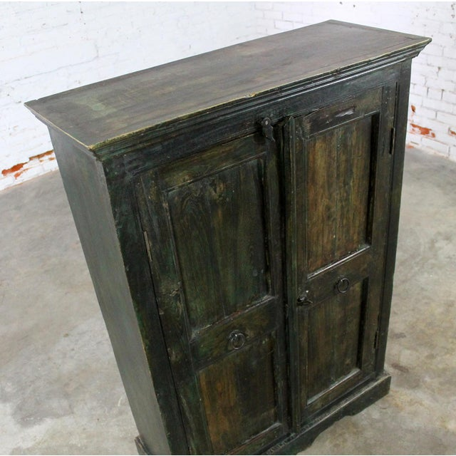 Wood Rustic Primitive Cupboard Storage Cabinet with Distressed Paint For Sale - Image 7 of 11