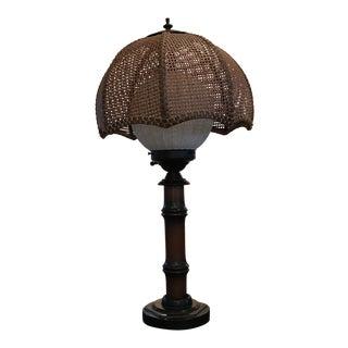 Retro Milk Glass Globe Lamp with Woven Shade