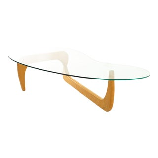 Isamu Noguchi Style Mid Century Blonde and Glass Coffee Table For Sale