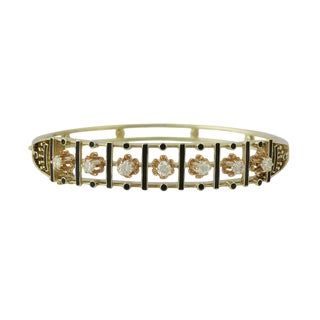Victorian 14k Gold Diamond and Enamel Bangle Bracelet For Sale