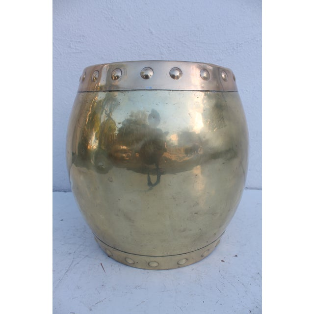 Vintage Chinoiserie Brass Stool - Image 2 of 8