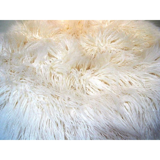 Contemporary Faux White Flokati Pouf For Sale - Image 3 of 3