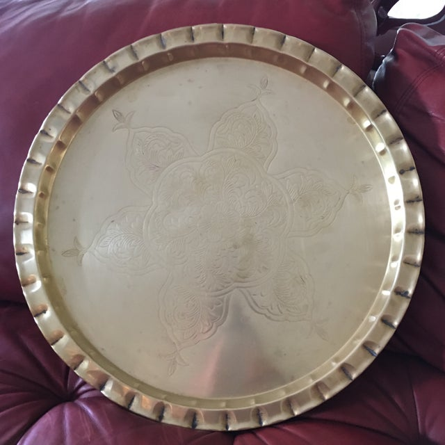 Vintage Round Bohemian Mid-Century Brass Tray For Sale - Image 9 of 11