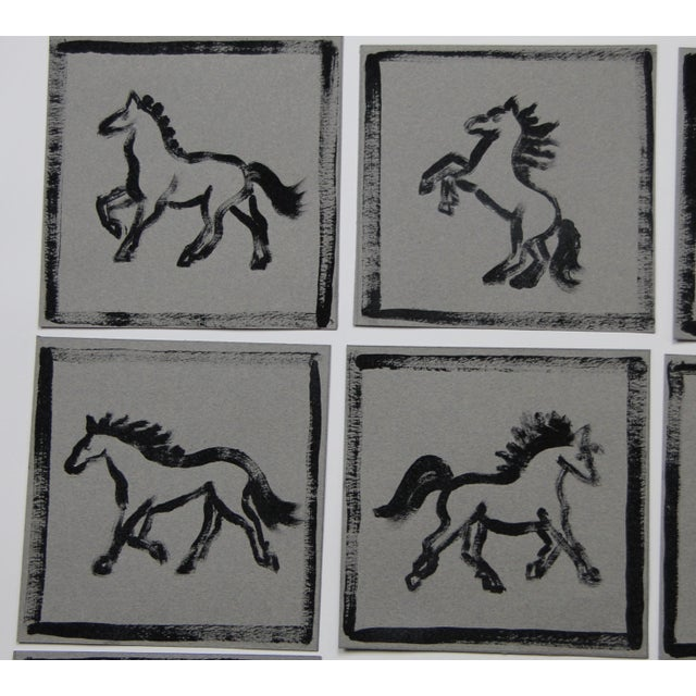 Contemporary Minimalist Horse Paintings Set of 9 by Cleo Plowden For Sale - Image 3 of 8