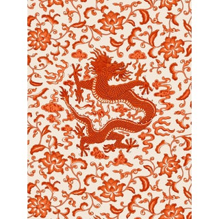 Red by Scalamandre Peel & Stick Wallpaper, Chi'en Dragon, Persimmon For Sale