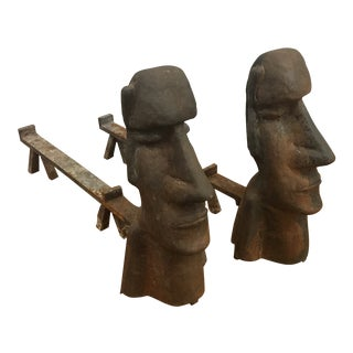 Vintage Easter Island Motif Cast Iron Andirons - a Pair For Sale