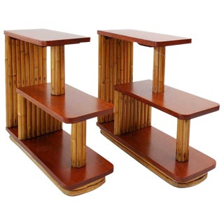 Restored Mahogany & Stacked Rattan Three-Tier Side Tables, by Paul Frankl, Pair For Sale