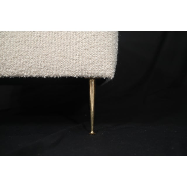 Pair of Italian Mid-Century Modern White Boucle Ottomans on Brass Legs For Sale - Image 10 of 12
