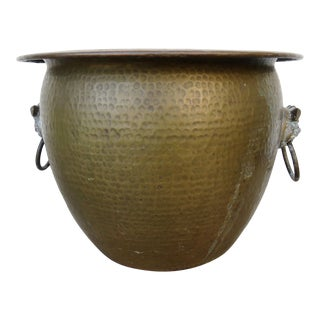 Late 20th Century Hammered Brass Planter For Sale