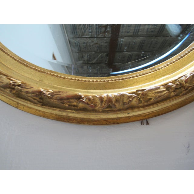 Vintage French Regency Gold Gilt Oval Hanging Wall Mirror For Sale - Image 10 of 13