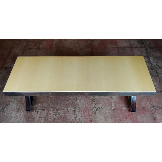 Mid-Century Modern Beautiful Designer Chrome Coffee Table With Lacquered Wooden Top For Sale - Image 3 of 10