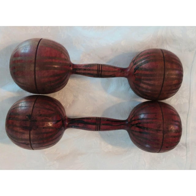 This unusual set of early 19th century barbells makes a unique room accent for a home gym, library or game room. They were...