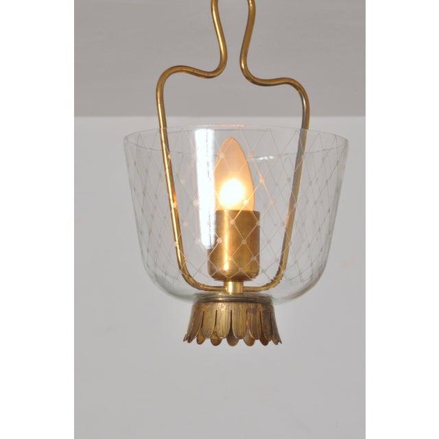 Mid-Century Modern 1950s Brass and Glass Eiling Lamp, Belmag, Zurich Switzerland For Sale - Image 3 of 6