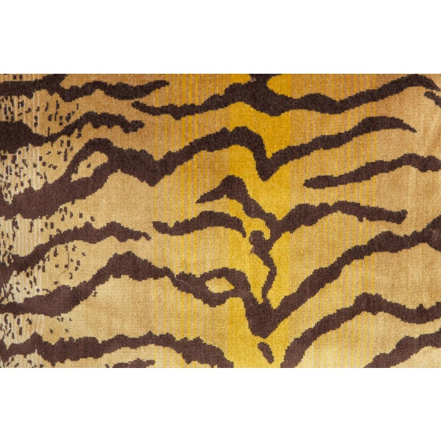 Modern Velvet and Silk Tiger Pattern Pillows, a Pair For Sale - Image 3 of 5