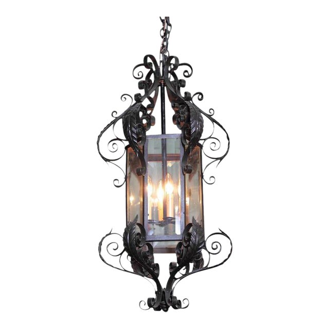 Early 20th Century French Black Four-Light Iron Lantern With Beveled Glass For Sale