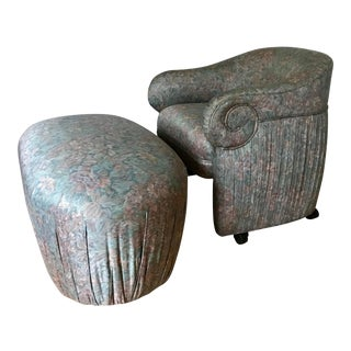 Vintage Pleated Barrel Club Chair and Ottoman For Sale