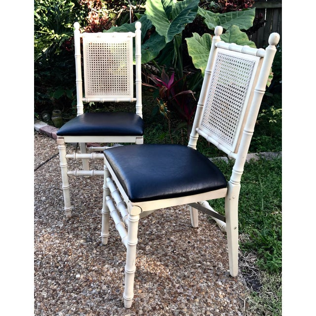 Asian 1960's Stackmore Faux Bamboo Cane Back Folding Chair- a Pair For Sale - Image 3 of 10