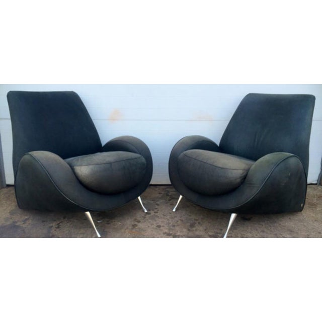 American Leather Distressed Modern Lounge Chairs - A Pair - Image 3 of 6