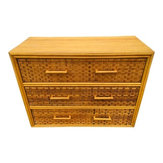 1950s Split Bamboo Chest of Drawers For Sale