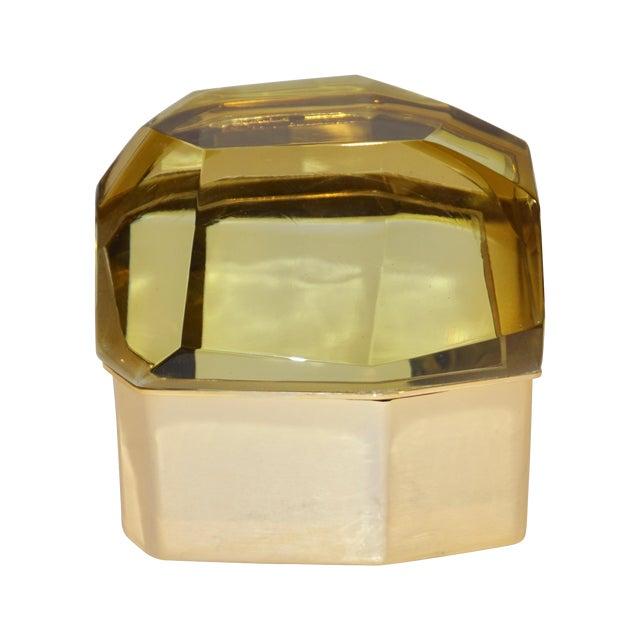 Toso Italian Modern Diamond-Shaped Gold Murano Glass and Brass Jewel-Like Box For Sale