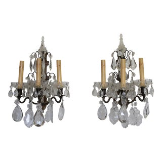 Bronze & Glass Crystal Sconces - A Pair