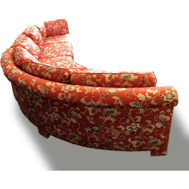 Red Vintage Chinoiserie Curved Sectional by Hickory Furniture For Sale - Image 8 of 13