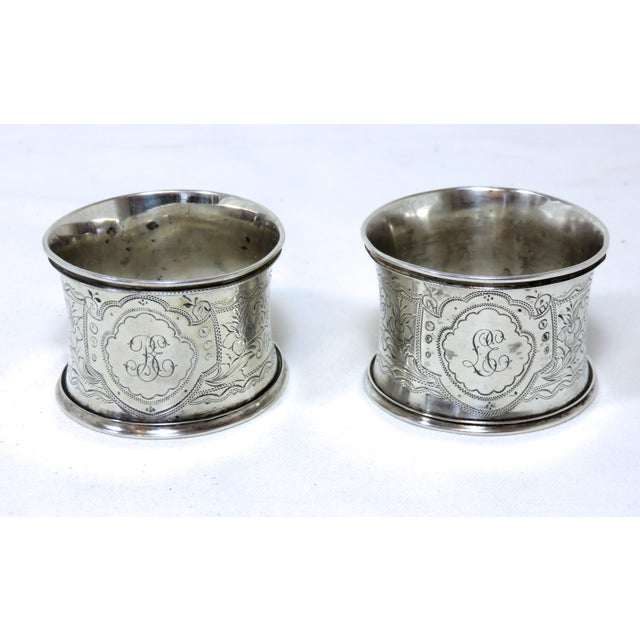 Metal Large Antique Victorian Coin Silver Wedding Napkin Rings For Sale - Image 7 of 7