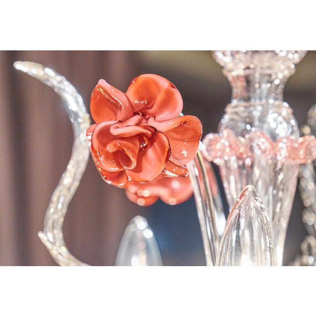 Murano Pink Rose and Crystal Glass Chandelier - Image 5 of 10