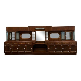 Art Deco Mahogany Backbar With Glass Rods For Sale